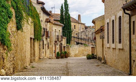 Medieval Old Town With Stone Houses, Old Doors And Windows, Cobbled Streets And Picturesque Atmosphe