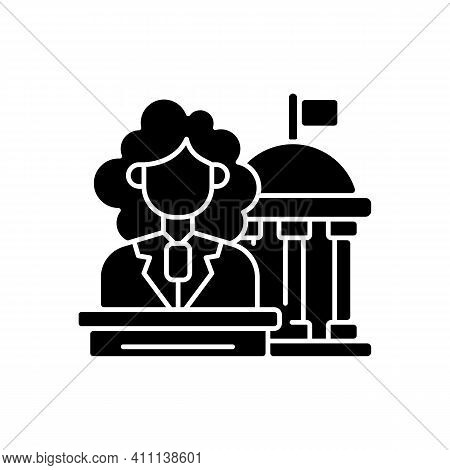 Women In Government Black Glyph Icon. Equal Access To Power. Social Movements For The Equalization O