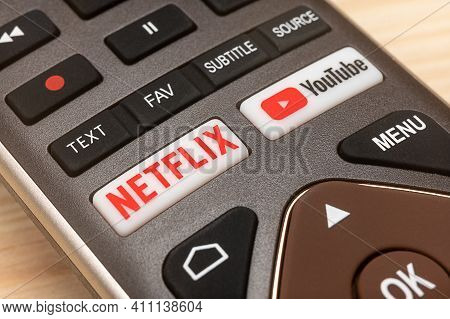 Moscow, Russia - 6 Mar, 2021: Youtube And Netflix Buttons On Remote. Netflix And Youtube Buttons On