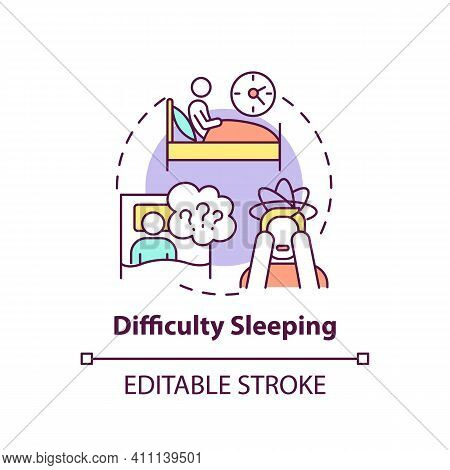 Difficulty Sleeping Concept Icon. Lose Sleep Idea Thin Line Illustration. Stress, Anxiety And Depres