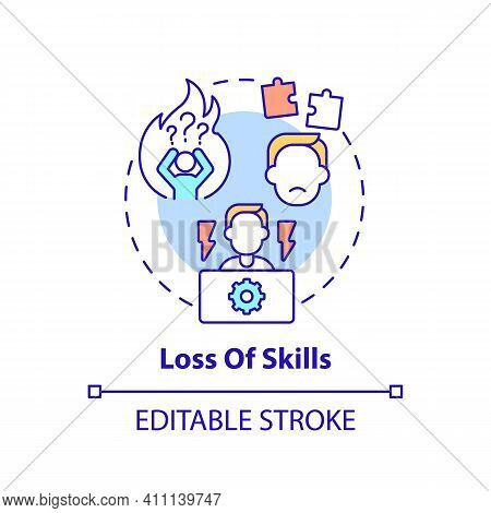 Loss Of Skills Concept Icon. Unemployment Increases Idea Thin Line Illustration. Unemployed Employee
