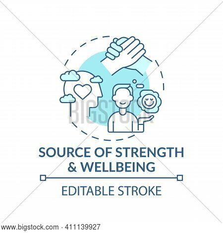 Source Of Strength And Wellbeing Turquoise Concept Icon. Mental Health Care, Psychotherapy. Religiou