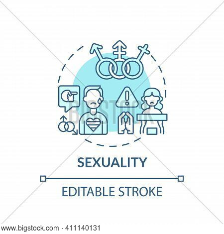 Sexuality Turquoise Concept Icon. Lgbtq People Discrimination. Sexual Orientation. Religious Issues
