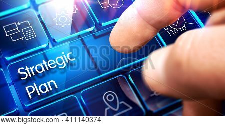 Strategic Plan Button On Futuristic Keyboard.3d. Strategic Plan - Inscription On The Blue Keyboard T