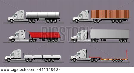 A Set Of Images Of A Modern American Truck With Different Variants Of Semi-trailers. Flat Style Line
