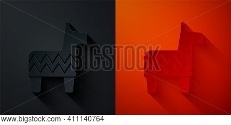 Paper Cut Pinata Icon Isolated On Black And Red Background. Mexican Traditional Birthday Toy. Paper
