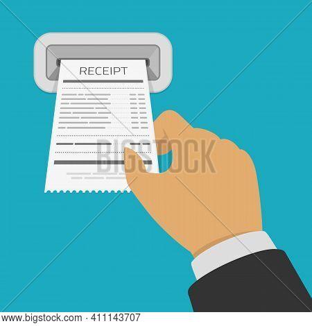 Hand Holding Receipt. Businessman Holds Receipt, Bill Paper, Flat Design On Blue Background. Banking