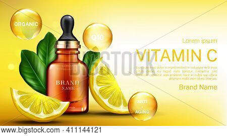 Vitamin ? Cosmetics Bottle With Pipette, Organic Anti Aging Serum, Q10 Fruit Acid Product Package Mo