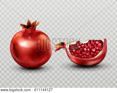 Pomegranate Whole And Quarter Slice With Seeds Set Isolated On Transparent Background, Ripe Garnet T