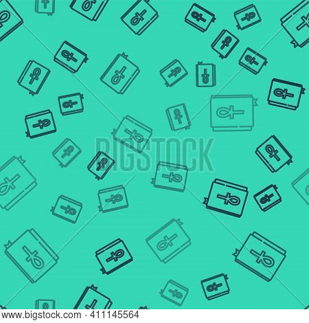 Black Line Cross Ankh Book Icon Isolated Seamless Pattern On Green Background. Vector