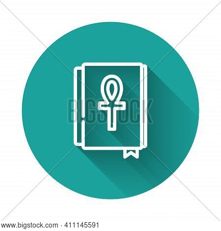 White Line Cross Ankh Book Icon Isolated With Long Shadow Background. Green Circle Button. Vector