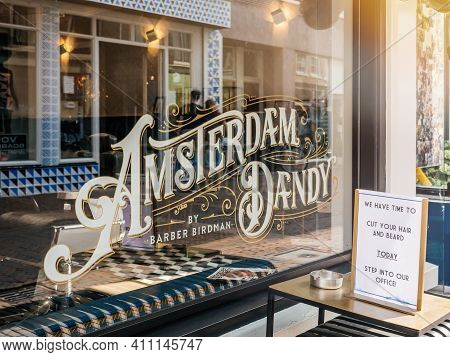 Haarlem, Netherlands - Aug 21, 2018: View From The Street Of Vintage Inscription Amsterdam Dandy By