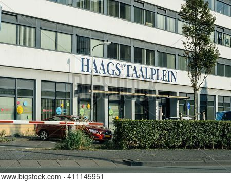 The Hague, Netherlands - Aug 21, 2018: Large Inscription Haags Taalplein The Famous Language School