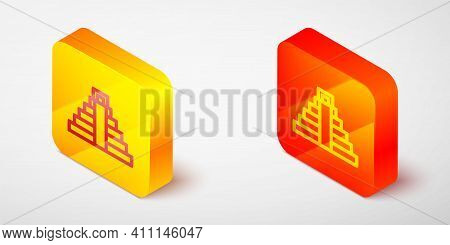 Isometric Line Chichen Itza In Mayan Icon Isolated On Grey Background. Ancient Mayan Pyramid. Famous