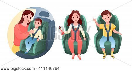 Baby Children Sit On Car Vehicle Seat, Happy Boy And Girl Sitting In Chair To Road Travel