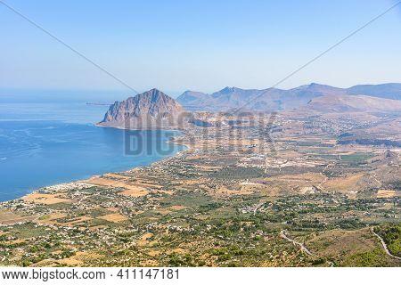 Landscape Of Sicilian Coast With Cofano Mountain, Western Sicily, Italy