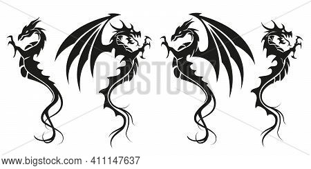Dragons - Dragon Symbol Tattoo, Set Of Black And White Vector Illustration