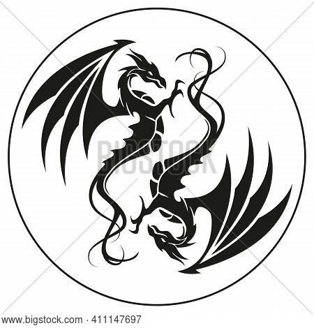Dragons In A Circle - Dragon Symbol Tattoo, Black And White Vector Illustration