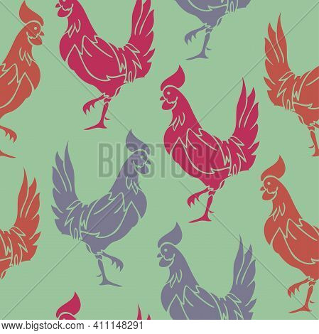 Vector Seamless Pattern With Colorful Rooster Silhouettes On A Green Background. Rooster Birds Patte