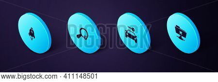 Set Isometric Ftp Cancel Operation, Car Rental, Unknown Search And Rocket Ship With Fire Icon. Vecto
