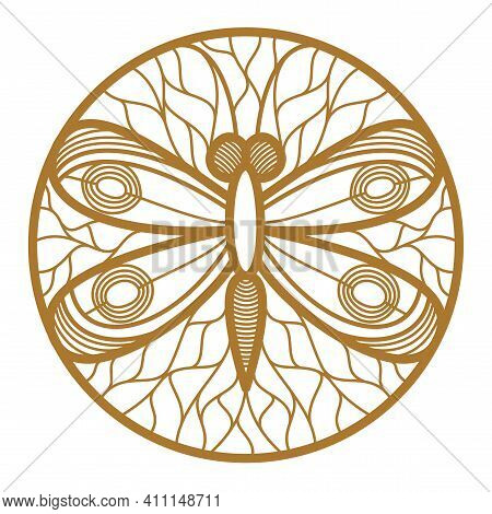 Beautiful Dragonfly Among Leaves Round Floral Vintage Linear Logo Design Template For Perfume Or Fas