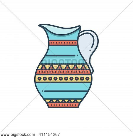 Color Illustration Icon For Antique Jar Comical Marvelous Longstanding Decrepit Pristine