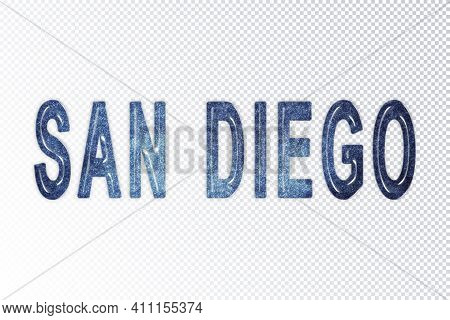 San Diego Lettering, San Diego Milky Way Letters, Transparent Background, Clipping Path