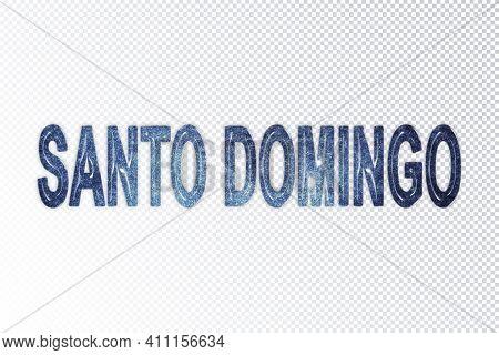 Santo Domingo Lettering, Santo Domingo Milky Way Letters, Transparent Background, Clipping Path
