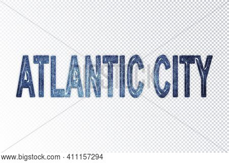 Atlantic City Lettering, Atlantic City Milky Way Letters, Transparent Background, Clipping Path