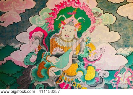 Rinchenpong, Sikkim, India - 17th October 2016 : Buddist Religious Mural On The Inside Wall Of Rinch