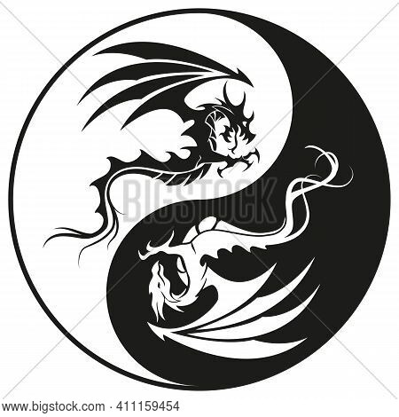 Dragons In Yin And Yang Circle - Dragon Symbol Tattoo, Black And White Vector Illustration