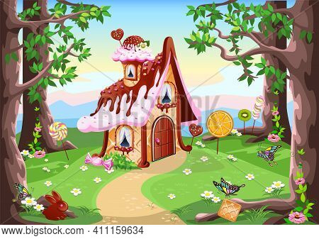Sweet Little House With Chocolate, Waffles And Cookies, Decorated With Sweets, Stands In A Forest Gl