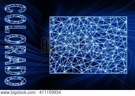 Map Of Colorado, Polygonal Mesh Line Map, Blue Map On Dark Background