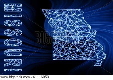 Map Of Missouri, Polygonal Mesh Line Map, Blue Map On Dark Background
