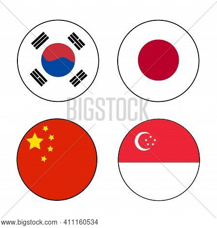 East Asia Flag Rectangle On Isolated White For Asia Country Concepts. Korea, Japan, China And Singap