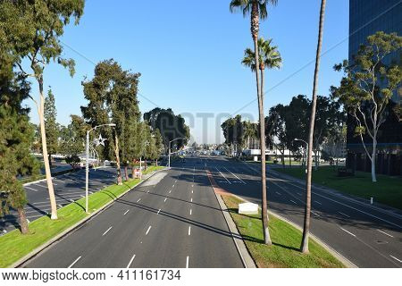 COSTA MESA, CA - DEC 1, 2017: Bristol Street seen from Unity Bridge that Connects South Coast Plaza and the Town Center area of Costa Mesa.