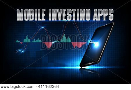Abstract Background Of Futuristic Technology Mobile Investing Apps On Smart Mobile Phone With Macd G