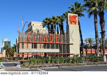 COMMERCE, CALIFORNIA - 26 FEB 2020: Citadel Outlet Mall sign. Los Angeles only outlet shopping center, with over 130 top name brand stores and restaurants.