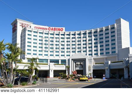 COMMERCE, CALIFORNIA - 26 FEB 2020: The Commerce Casino, and Crowne Plaza Hotel, with over 240 tables on site, is the largest cardroom in the world.