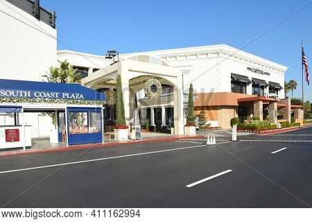 COSTA MESA, CA - DEC 1, 2017: Capital Grille South Coast Plaza amnd valet parking. The upscale steakhouse chain offers classic American fare and a clubby, refined setting.