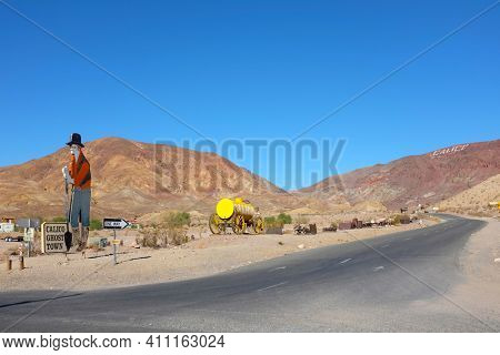 YERMO, CALIFORNIA - DECEMBER 8, 2017: Calico Ghost Town. Located in the Calico Mountains of the Mojave Desert, founded as a silver mining town, today it is a county park named Calico Ghost Town.