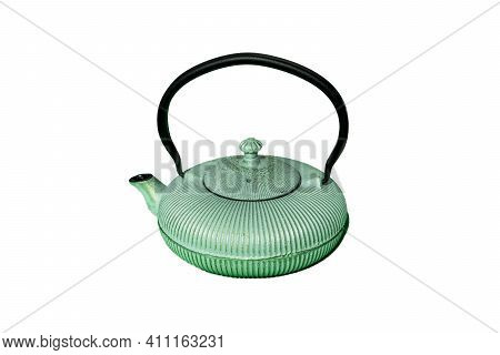Cast Green Iron Teapot For Tea Isolated On A White Background. Traditional Japanese, Chines Teapot.
