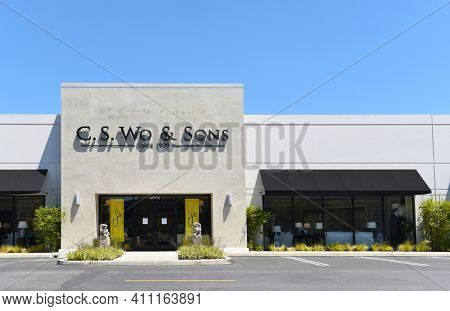 COSTA MESA, CALIFORNIA - 23 APRIL 2020: C. S. Wo and Sons Furniture Store in the South Coast Collection upscale shopping mall.