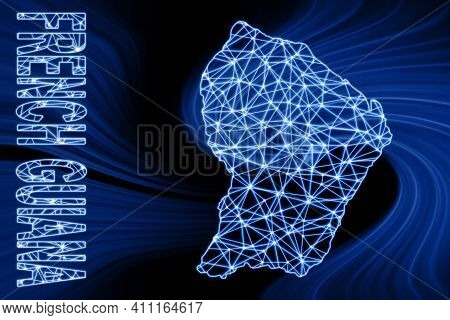 Map Of French Guiana, Polygonal Mesh Line Map, Blue Map On Dark Background
