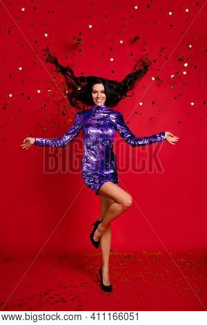 Vertical Full Length Photo Of Attractive Young Woman Fly Hair Star Confetti Wear Stilettos Isolated
