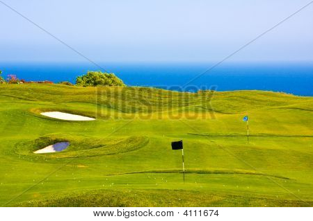 Golf Field Over The Sea