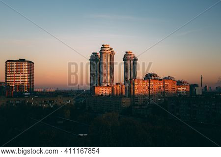 Urban Landscape Of New Moscow. Urban Area With Old And New Housing During Early Morning With Light O