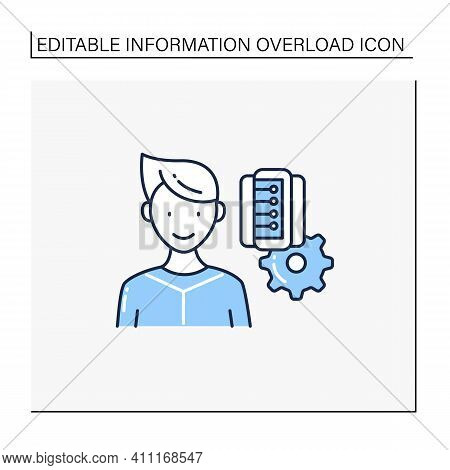 Information Management Line Icon. Collect, Manage, Preserve, Store And Deliver Information. Informat