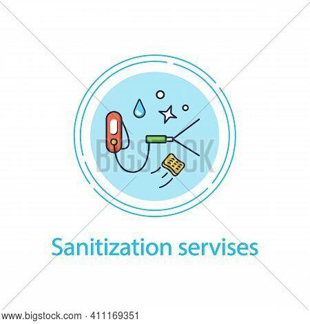 Sanitization Services Concept Line Icon.sterilization Houses Process.room Disinfection, Handheld Dev