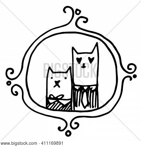 Hand Draw Cats In Love. Cute Cat And Lady-cat Hug Each Other And Hold A Heart In Their Paws. Valenti